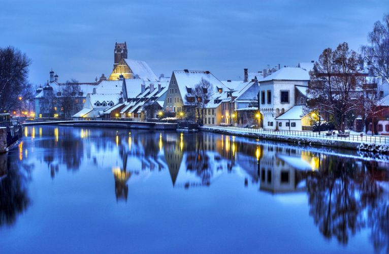 Germany Houses River Winter Cities reflection wallpaper