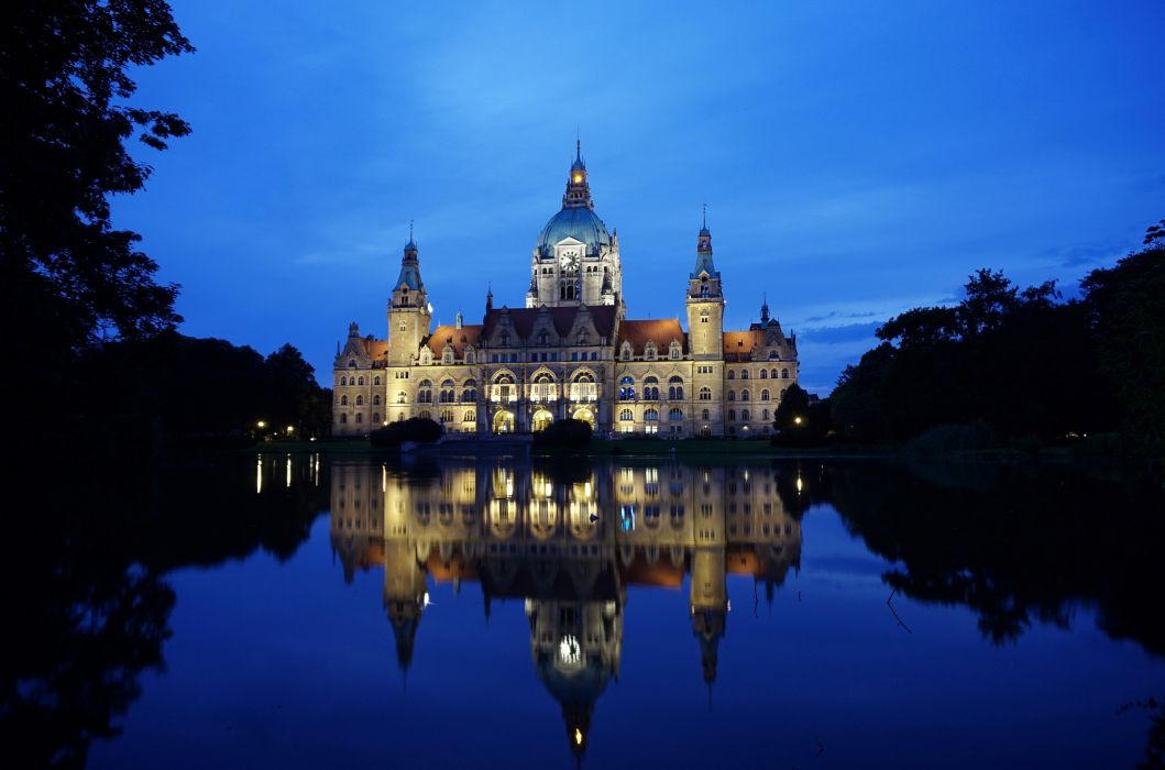 Germany Pond Hanover New Town Hall Palace Night Cities reflection wallpaper