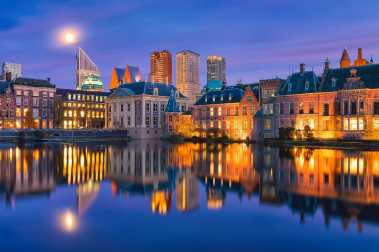 Hague Netherlands The Hague Netherlands Holland night city buildings waterfront water reflection wallpaper