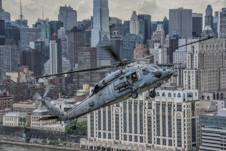Helicopter Skyscraper Sikorsky UH-60 Black Hawk Aviation Cities miltary wallpaper