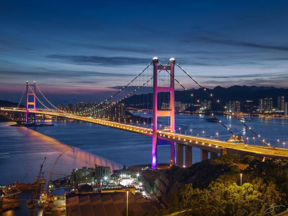 Hong Kong night sea bridge lights wallpaper