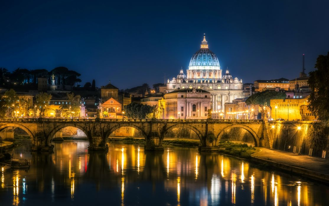 Italy Temples Rivers Bridges Vatican City Rome Night Cities reflection wallpaper