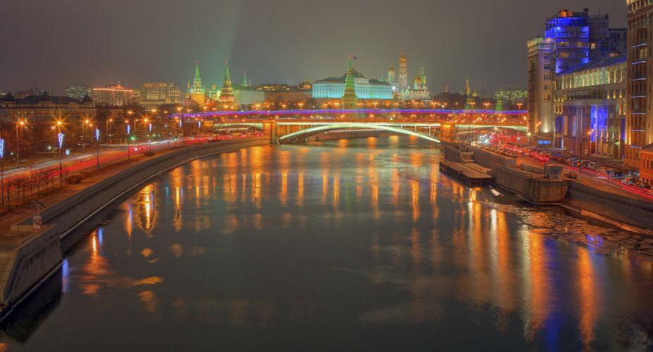 Kremlin Moscow night river russia reflection f wallpaper