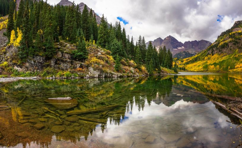 lake mountains reflection forest trees forest Maroon Bells Colorado autumn f wallpaper