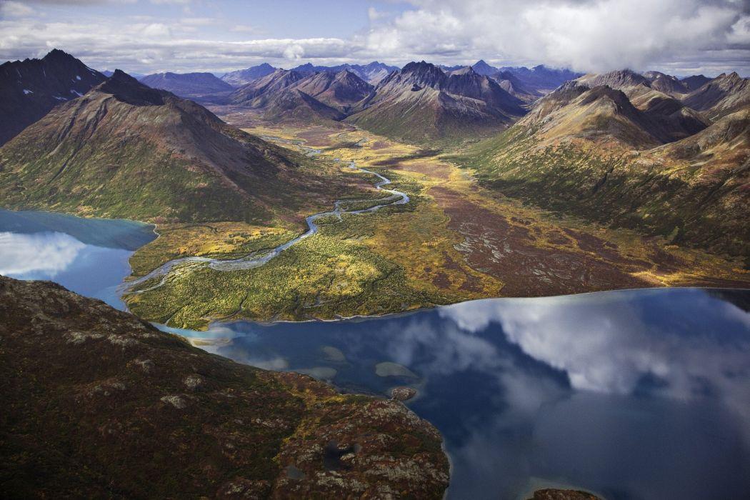 lake mountains reflection Alaska Bristol Bay wallpaper