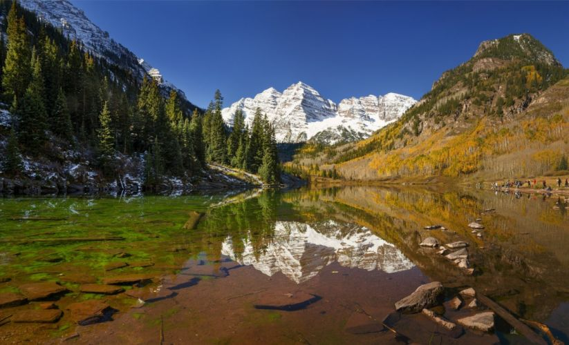 lake mountains reflection forest trees forest Maroon Bells Colorado autumn wallpaper