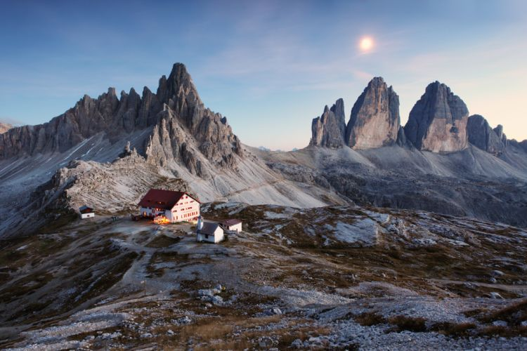 Italy Dolomite Alps Three Peaks house mountains snowy land sunset beautiful nature landscape sky wallpaper