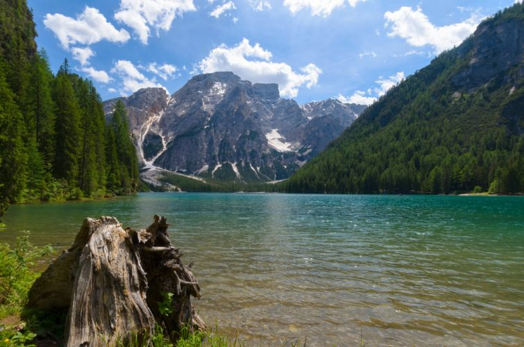 Lake Braies mountains forest landscape Italy wallpaper