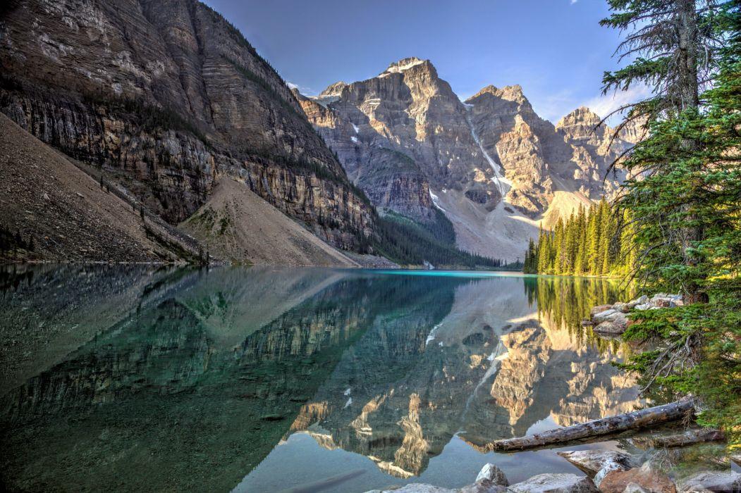 lake mountains trees landscape Lake Moraine Canada Alberta Banff National Park reflection w wallpaper