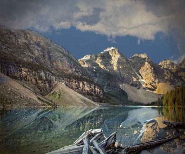 lake mountains trees landscape Lake Moraine Canada Alberta Banff National Park reflection u wallpaper