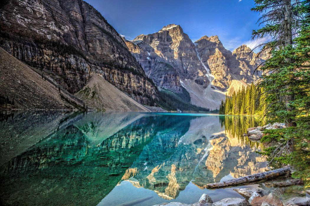 lake mountains trees landscape Lake Moraine Canada Alberta Banff National Park reflection wallpaper