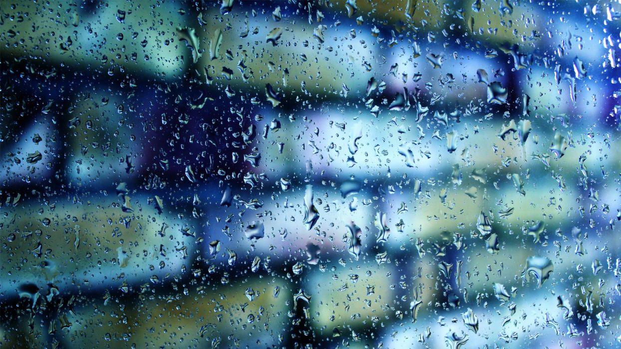 macro glass drops wall bricks rain bokeh wallpaper