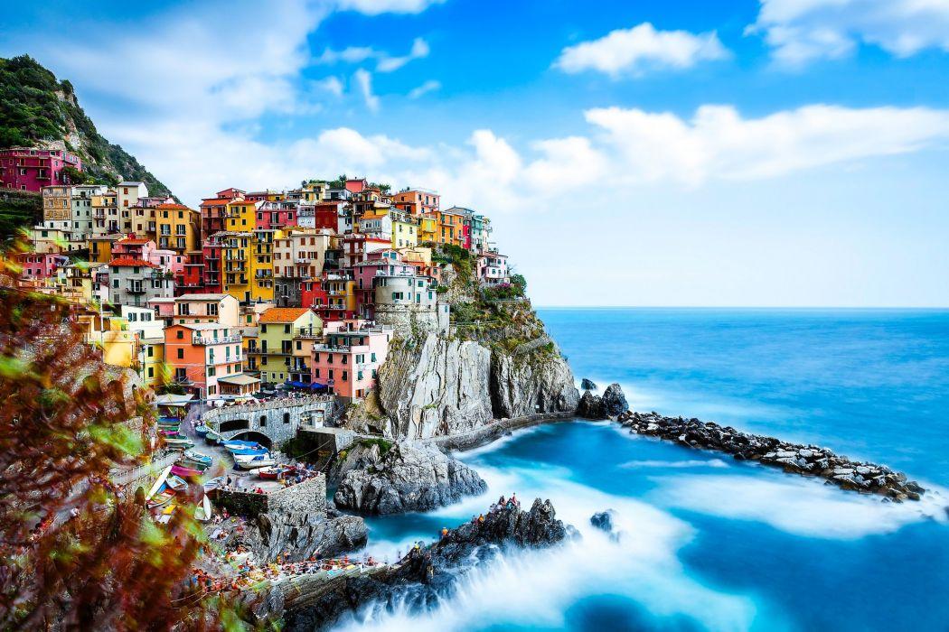 Manarola Cinque Terre Italy Manarola Cinque Terre Italy Ligurian Sea rocks landscape sea building coast wallpaper