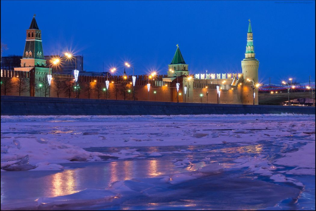 Moscow Russia River Winter Snow Night Cities Frozen
