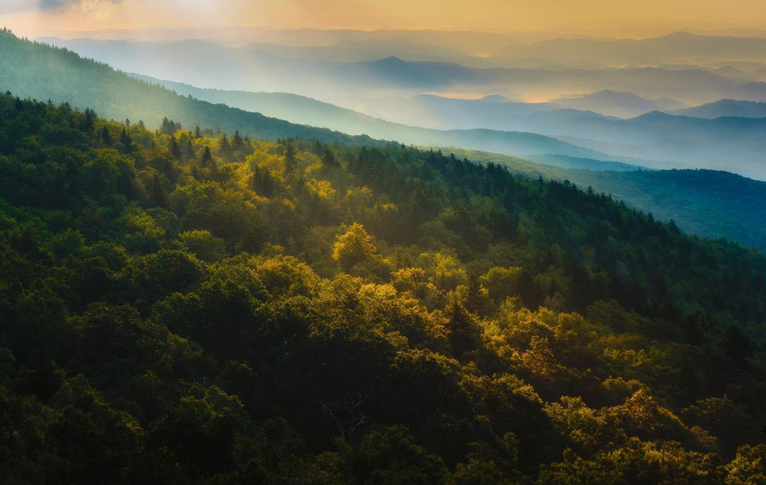 Mountains forest autumn nature panorama sunrise wallpaper