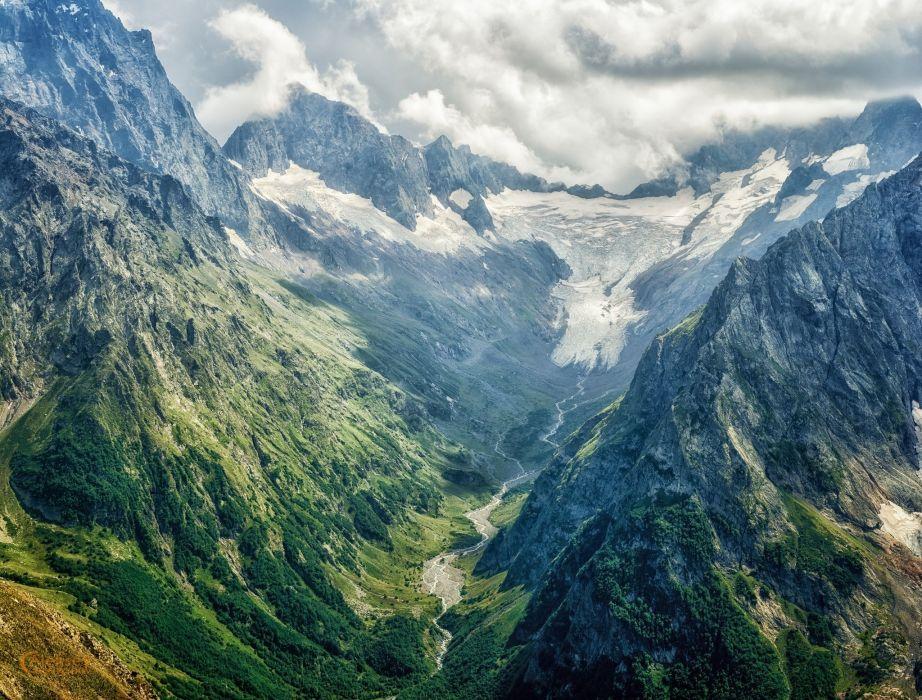 mountains trees sky landscape Glacier National Park wallpaper