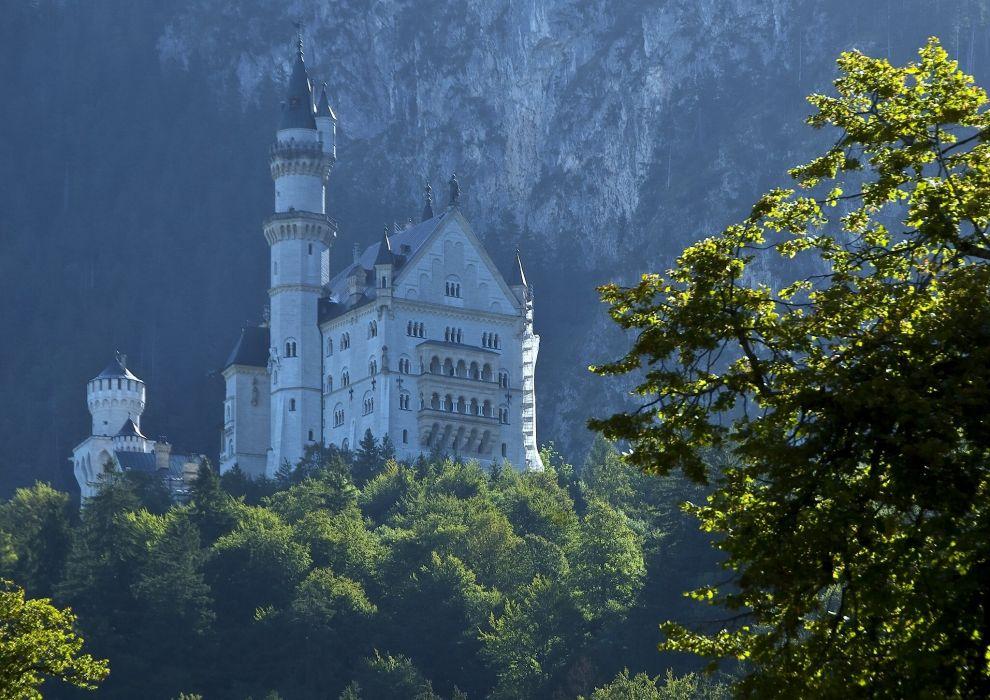 Neuschwanstein Castle Bavaria Germany castle forest trees wallpaper