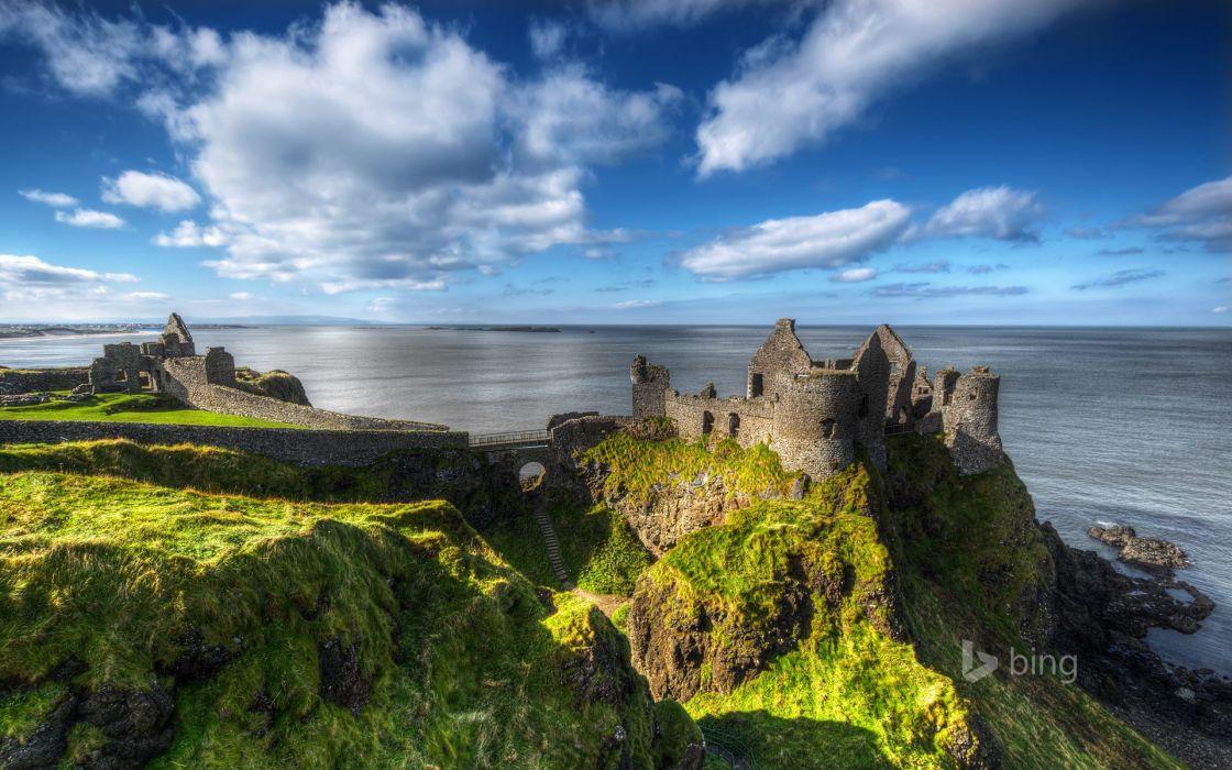 Northern Ireland County Antrim Castle Danlos sky sea ruins ruins rock wallpaper