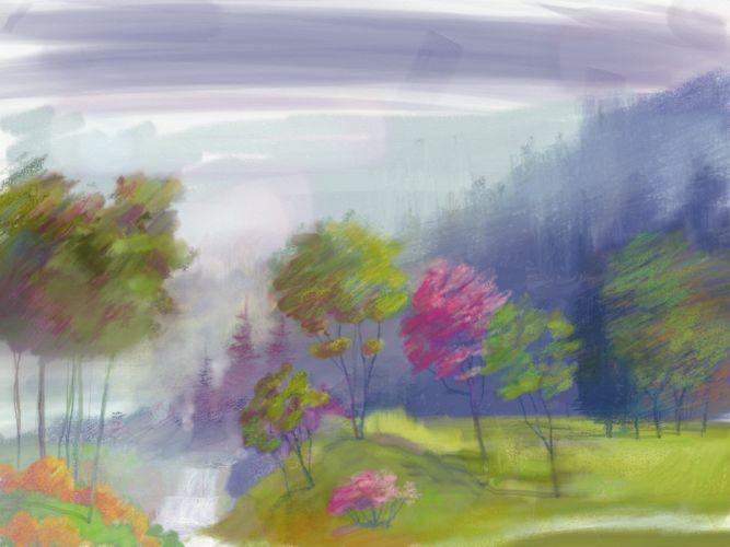 painting landscape river waterfall hills trees artwork river garden park wallpaper