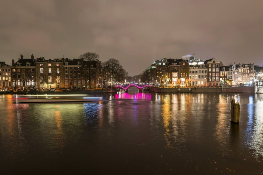 Netherlands House River Amsterdam Night Cities reflection wallpaper
