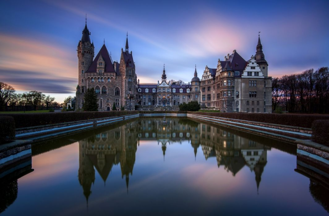 Poland Castle Pond Sunrise and sunset Moszna Cities reflection wallpaper