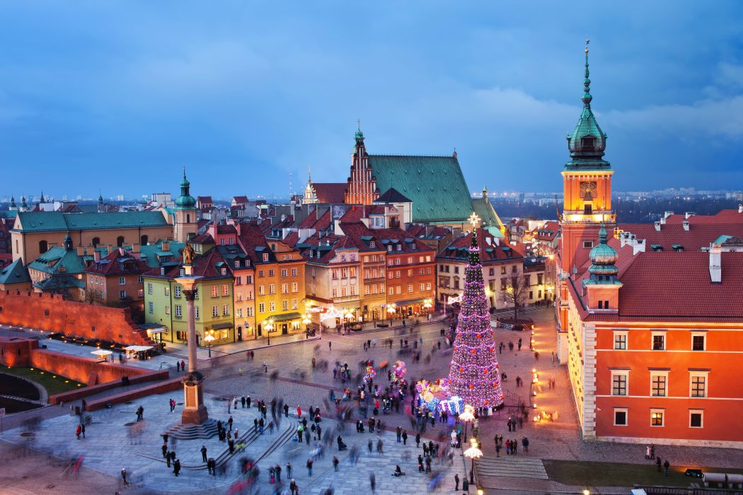 Poland Houses Christmas Warsaw Christmas tree Cities people crowd wallpaper