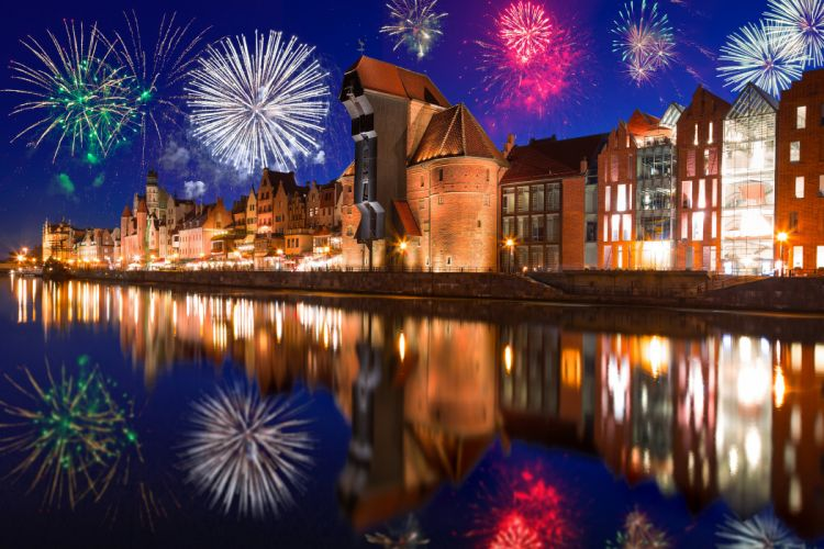 Poland Houses Fireworks River Gdansk Night Cities house reflection new year wallpaper