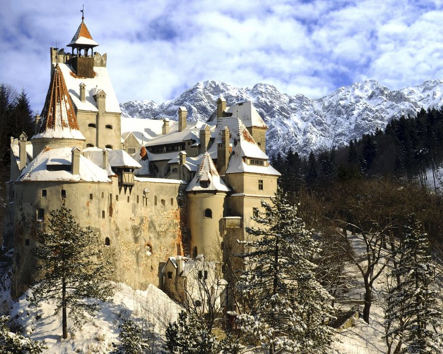 Romania Castles Mountains Winter Bran Castle Transylvania Snow Fir wallpaper