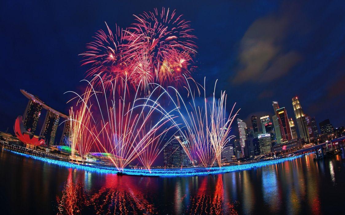 Singapore night holiday fireworks fireworks new year water metropolis marina bay sands wallpaper