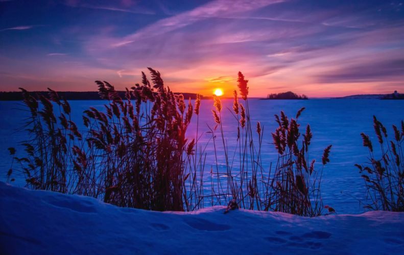 snow winter frost sunset lake frozen sunset sunrise wallpaper