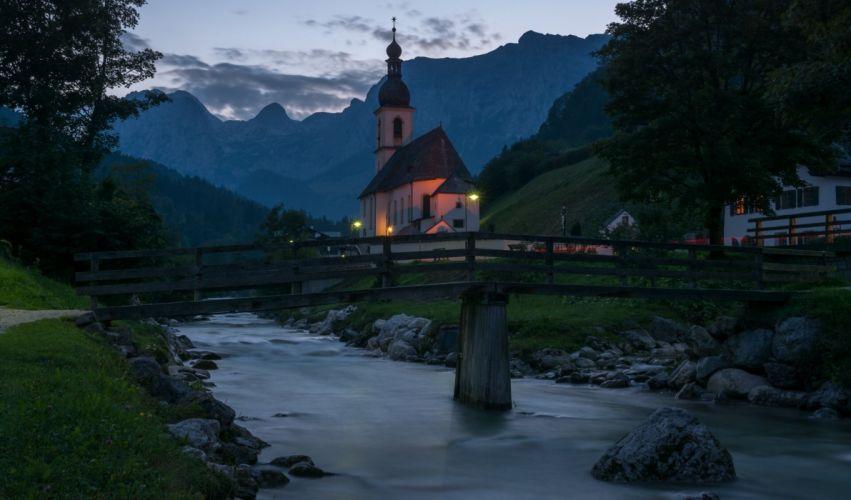 St Sebastian Church Ramsau Bavaria Germany Ramsau Bavaria Germany church river bridge mountains wallpaper