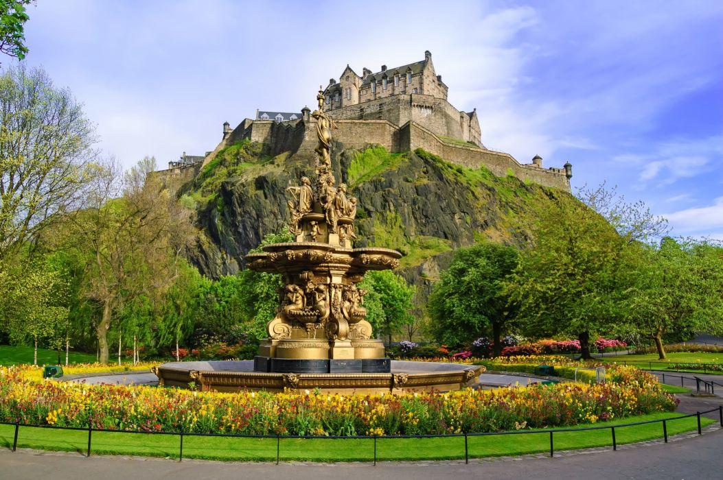 Scotland Castle Fountain Edinburgh Ross fountain Cities statue wallpaper