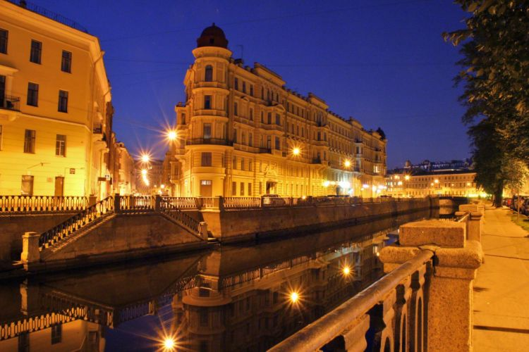 St Petersburg Russia Houses Night Canal Cities wallpaper