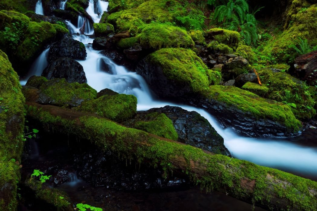 stones moss waterfall river Columbia Oregon United States forest d wallpaper