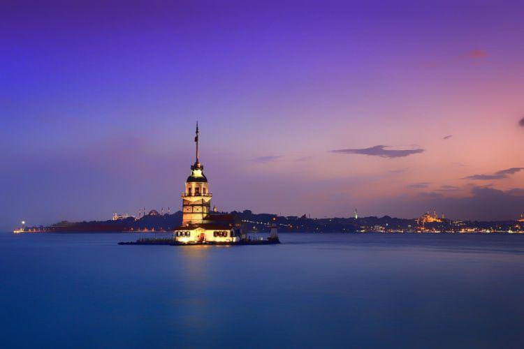 Sultanahmet city Istanbul sunrise sea island building Maiden's Tower shore coast lighthouse wallpaper