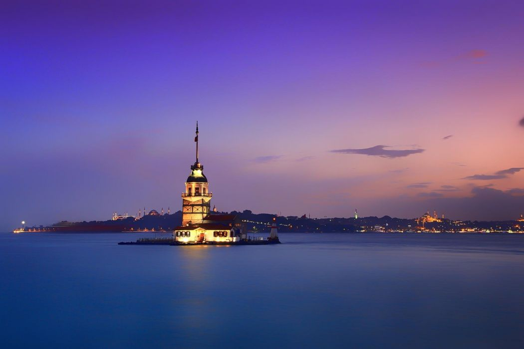 Sultanahmet city Istanbul sunrise sea island building Maiden's Tower shore coast lighthouse wallpaper