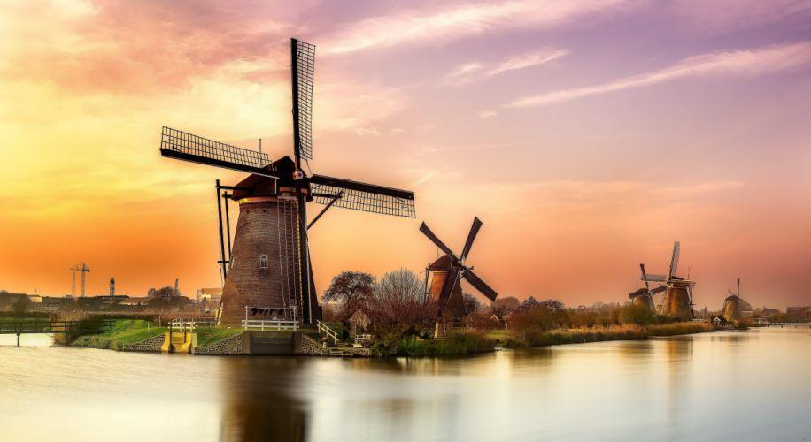 sunset river Holland windmill landscape reflection wallpaper