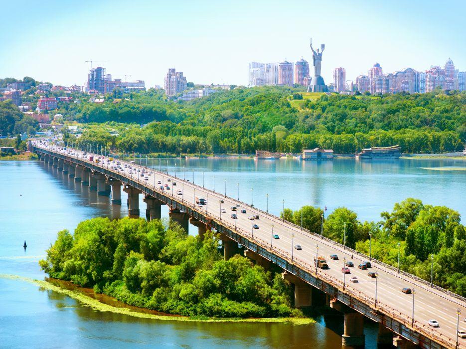 Ukraine Houses River Bridge Cities wallpaper