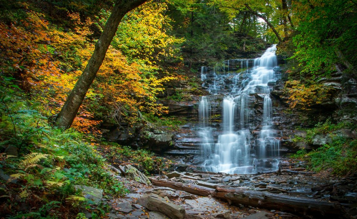 waterfall cascade river forest autumn stones Pennsylvania wallpaper
