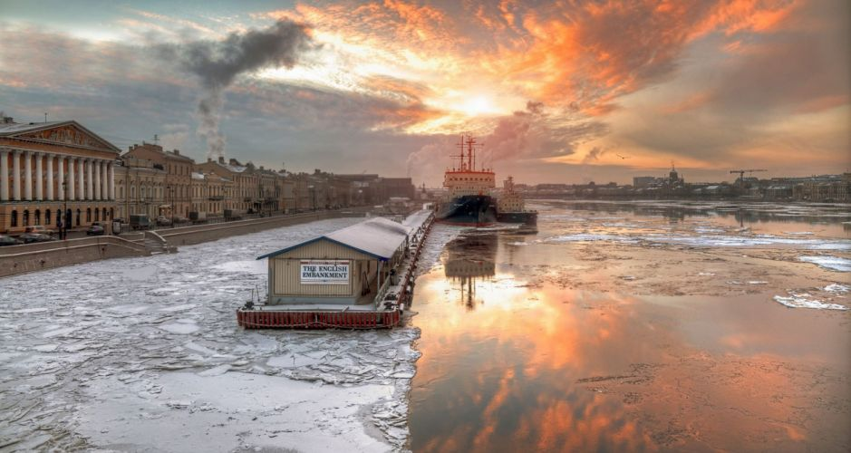 winter frost St Petersburg russia river ice frozen wallpaper
