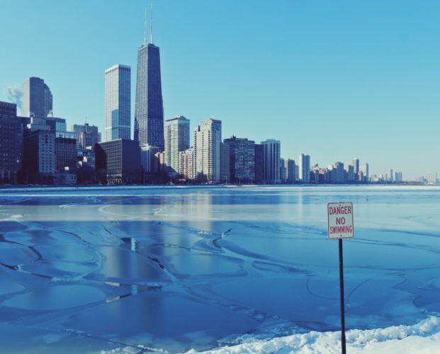 winter chicago ice Illinois a city lake frozen wallpaper