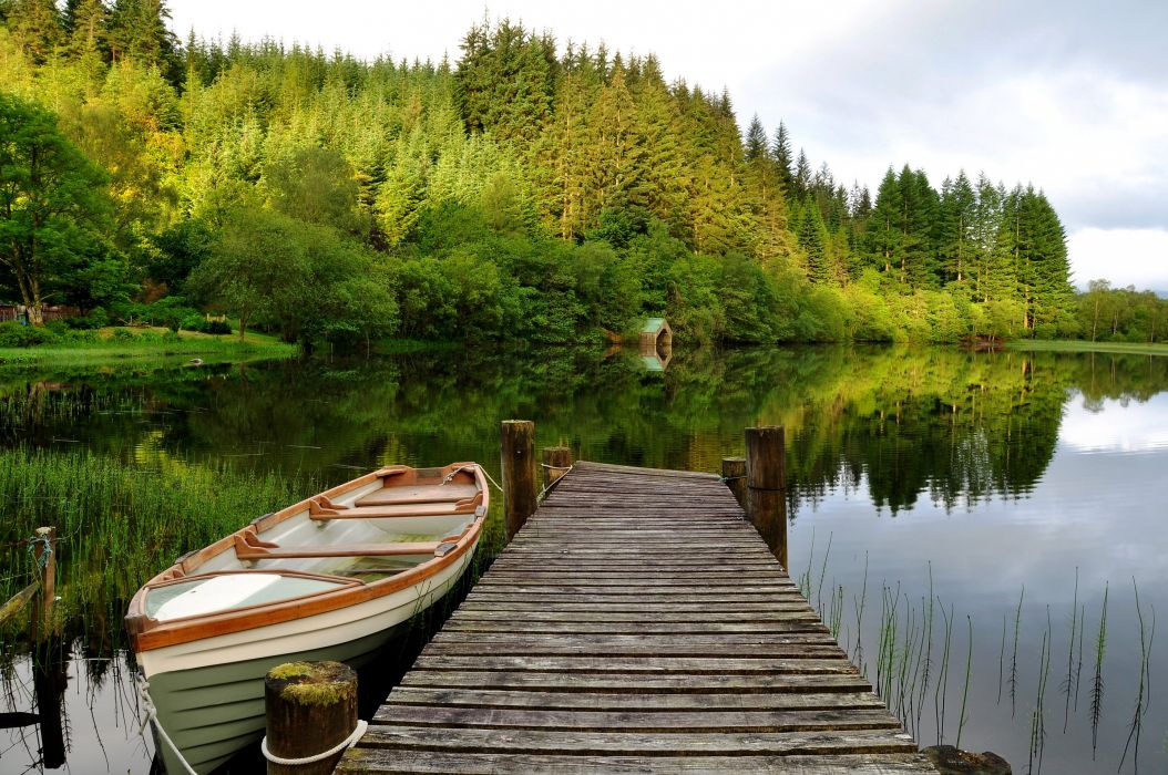wood boat trees bridge sky lake reflection wallpaper