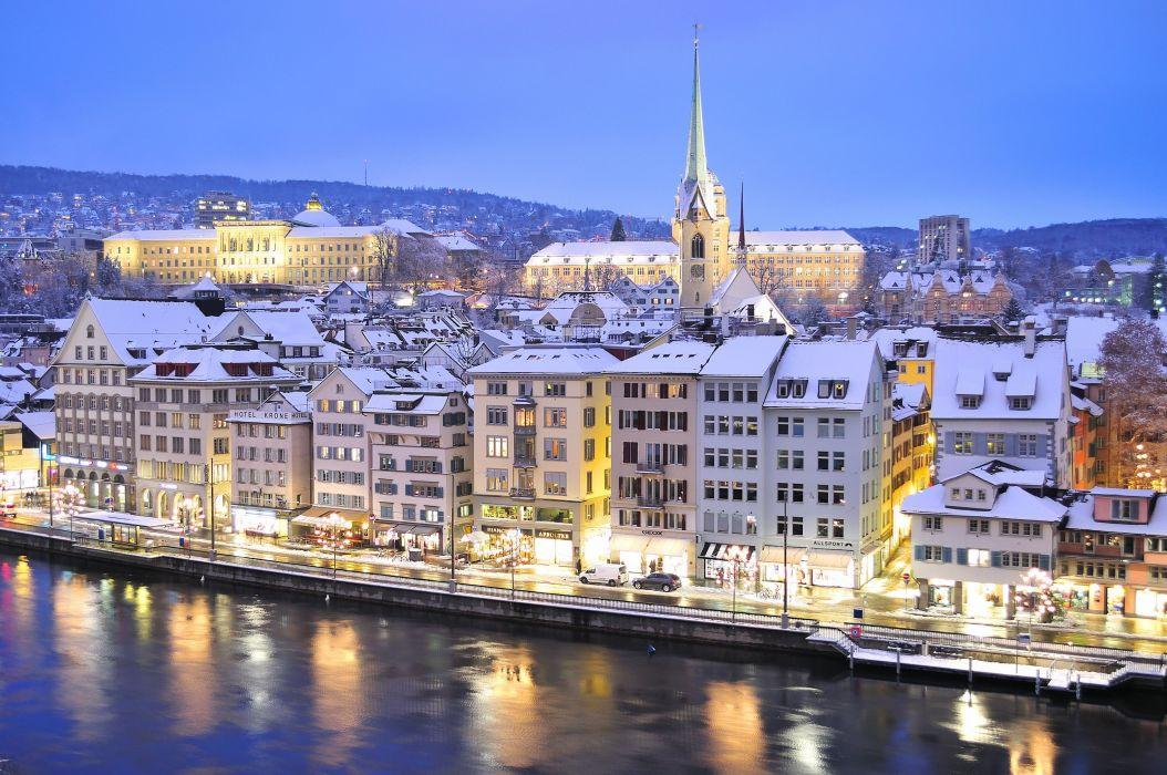 Zurich Switzerland Limmat river Zurich Switzerland Limmat river the river embankment buildings winter reflection wallpaper