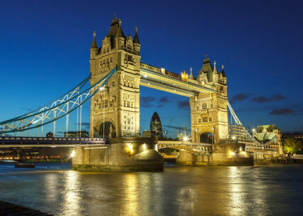 United Kingdom River Bridge London Street lights Night Cities reflection wallpaper