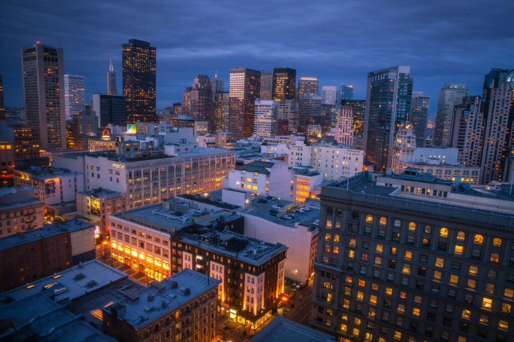 USA Skyscraper San Francisco Night Cities wallpaper