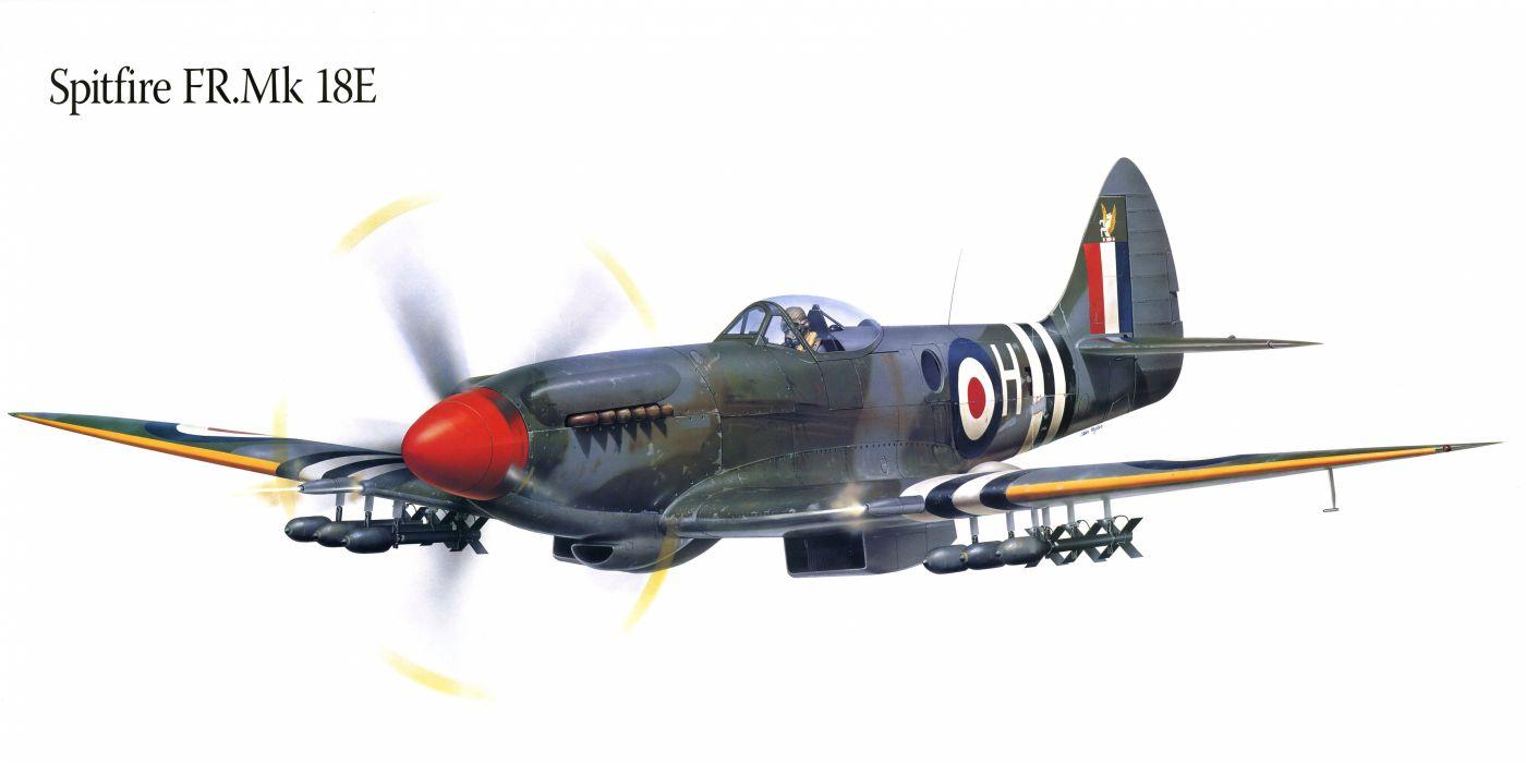 Airplane Painting Art Spitfire FR Mk 18E usefilename military wallpaper