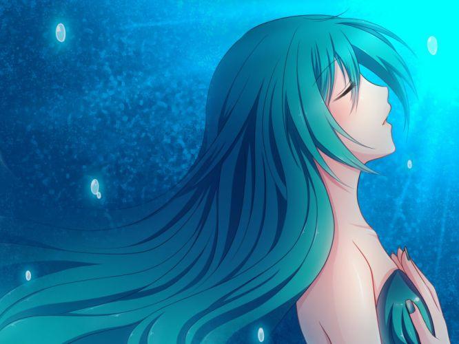 Hatsune Miku Vocaloid anime girl music Megurine Luka video game beauty beautiful lovely sweet cute humanoid green hair tail long character wallpaper
