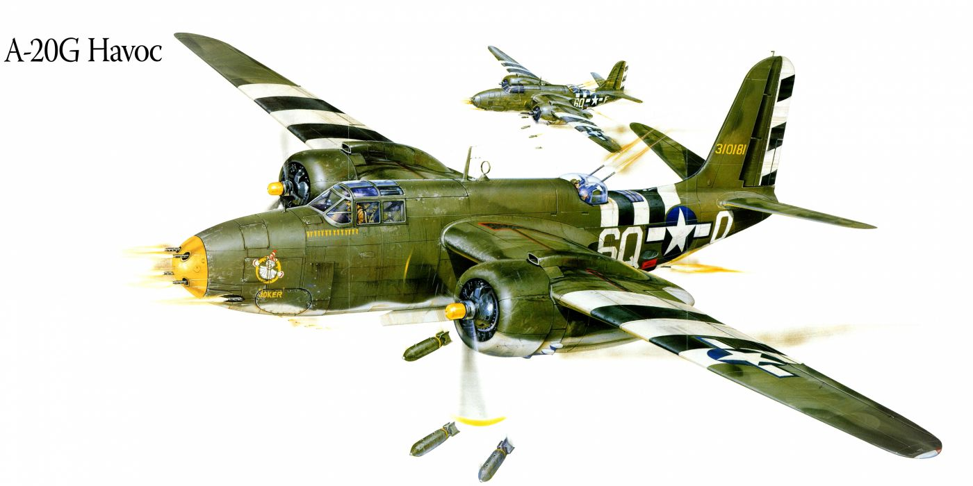 A-20G Havoc military war art painting airplane aircraft weapon fighter d wallpaper