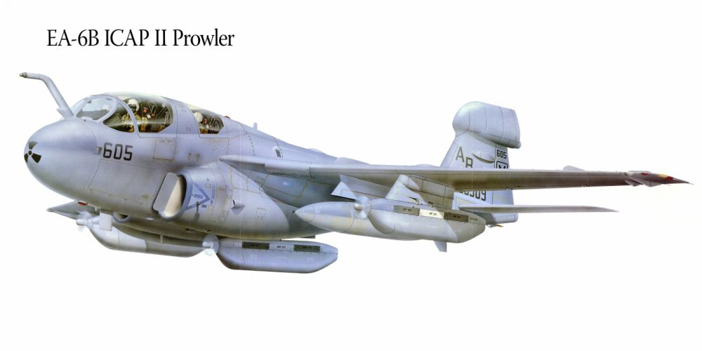 EA-6B ICAP II Prowler military war art painting airplane aircraft weapon fighter d wallpaper