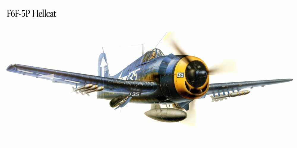 F6F-5P Hellcat military war art painting airplane aircraft weapon fighter d wallpaper